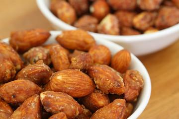 Caramelised almonds, close up