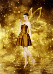 Beautiful young brunette woman as golden fairy