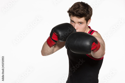 Closeup of young boxer