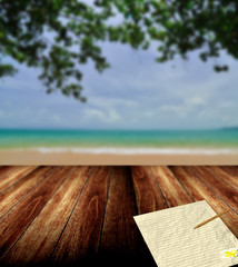 Write letter from nice beach, Vacation concept