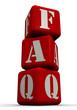 """Аббревиатура """"FAQ"""" из красных кубиков"""