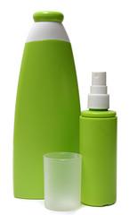 two green plastic bottles
