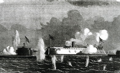 USS New Ironsides bombarding confederate fortifications