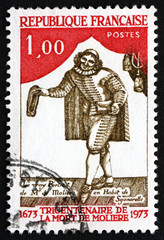 Postage stamp France 1973 Moliere as Sganarelle, Playwright