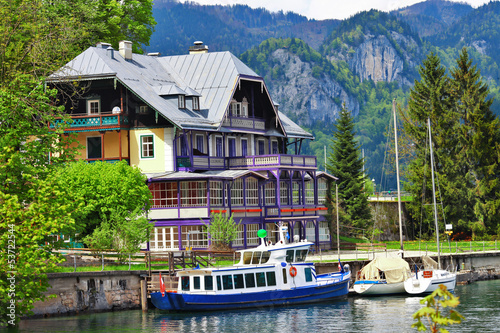 lakes of Austria .view with yacht and villa. st Gilgen