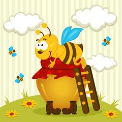 bee on a pot of honey