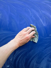 Car polish, blue paint