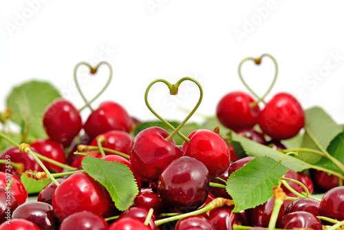 Cherry objects on white background