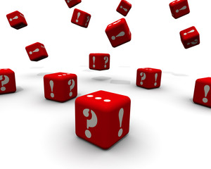 Вопросы и ответы. Кубики падают на белую поверхность