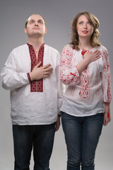 Young Ukrainian couple in national dress