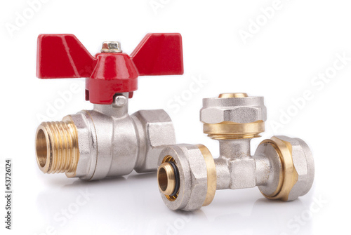 Ball valves for water isolated on a white background.