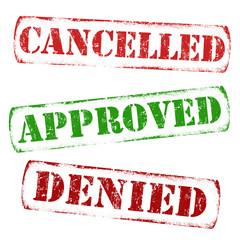 Set of grunge stamps - cancelled, approved, denied