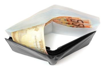 corruption concept with envelope , money , wallet