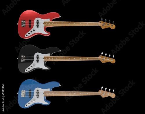 Electric Bass Guitars Set 01