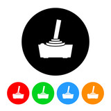 Video Game Joystick Icon Vector with Four Color Variations