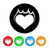 Burning Heart Icon with Color Variations