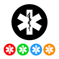 Snake and Staff Medical Icon Vector with Four Color Variations