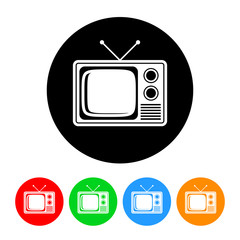 Television Icon with Color Variations