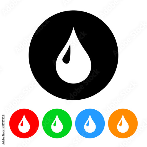 Droplet Icon Vector with Four Color Variations