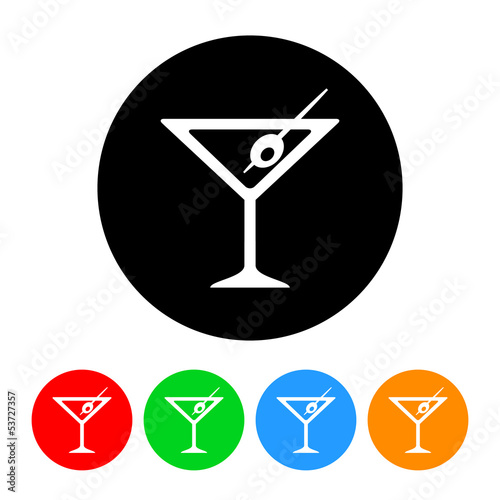 Martini Icon with Color Variations