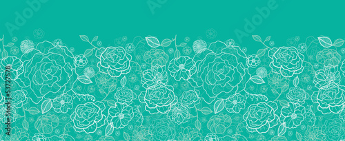 Vector Emerald green floral lineart horizontal seamless pattern