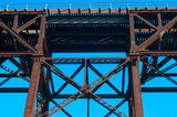 High railroad trestle overhead