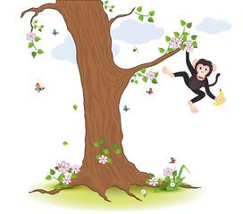 Affe klettert am Baum