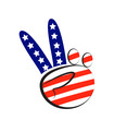 Peace symbol hand with USA flag colors logo vector