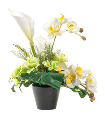 Bouquet of white calla lily and orchid in black clay pot
