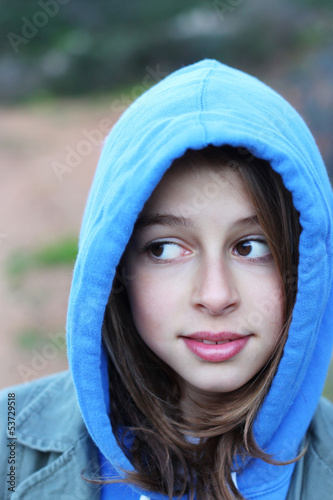 Cool teenage girl with hoodie