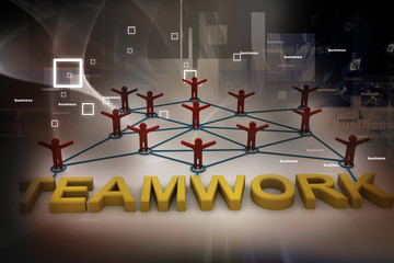 Teamwork concept on abstract background