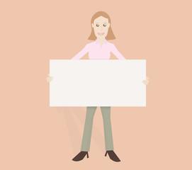 Friendly woman holding board