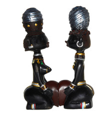 African woodcarvings showing confrontation between men and woman