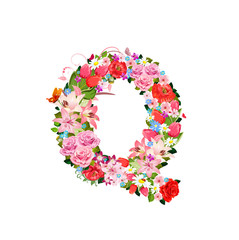 Romantic letter of beautiful flowers Q
