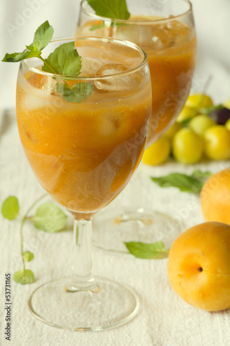 Apricot juice nectar and fresh apricots