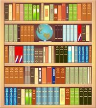 Bibliothèque avec un globe et livres