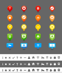 GPS pin and map icon set