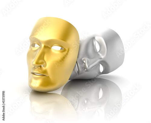 Theatrical mask on a white background