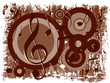 Música - Fundo castanho com notas musicais