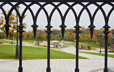 Decorative fence in park