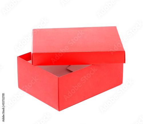 Opend red shoe box isolated on a white background