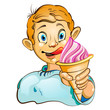 Cartoon little boy eating strawberry ice cream