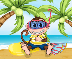 A monkey with goggles at the beach