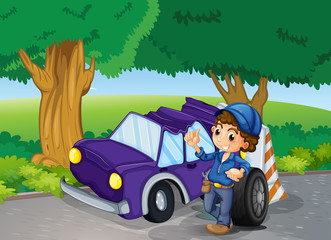 A car crashed near the big trees
