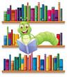 A caterpillar reading a book