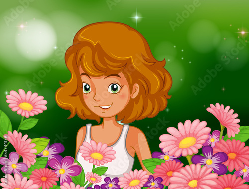 A happy young girl at the garden