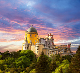 Fairy Palace against sunset sky /  Panorama of Palace in Sintra,