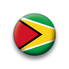 Vector flag button series Guyana