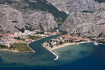 Aerial view - Omis city in Croatia
