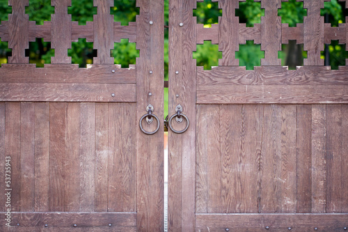 Ancient closed wooden gate with two door knocker rings
